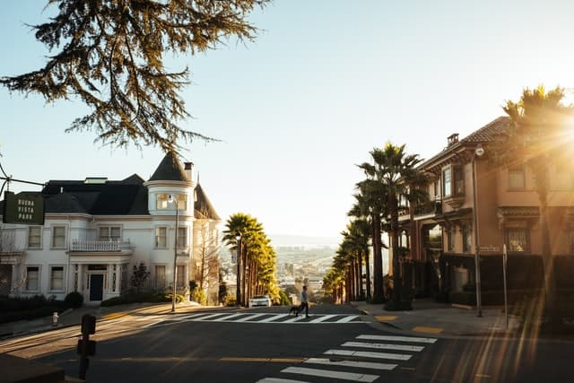 An empty street with houses in San Francisco, California.